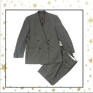 Georgio Armani Wool double breast grey pants suit